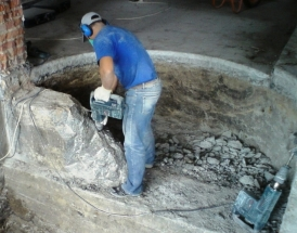 Процесс демонтажа бетона